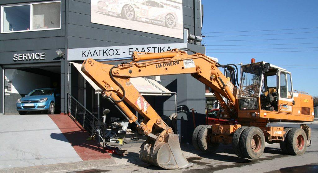 Επισκευές ελαστικών σε χωματουργικά βαρέως τύπου οχήματα